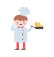chef boy with saucepan flame cartoon character vector image vector image