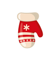 Christmas mitten icon in flat style vector image vector image