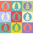Christmas or Happy New Year tree flat design icon vector image vector image