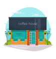 coffee house front flat icon vector image vector image