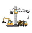 construction crane bulldozer concrete mixer vector image