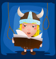 cute cartoon girl viking medieval warrior with vector image