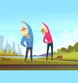 elderly couples make some sport exercises in the vector image vector image