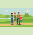family members in park vector image vector image