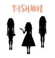 fashion woman silhouette with long hairstyle vector image vector image