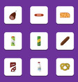 flat icon eating set of fizzy drink cheddar slice vector image vector image