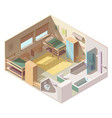 four-bed room in school camp isometric vector image