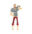 funny pirate with saber male buccaneer cartoon vector image vector image
