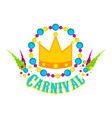 golden crown and party ornaments vector image