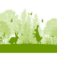 green nature landscape with rabbits vector image vector image