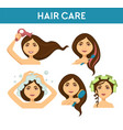 hair care woman washing it and using dryer vector image vector image