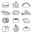 Hand drawn fast food set vector image