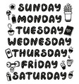 hand drawn weekdays and elements for diary vector image
