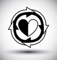 Heart surrounded by arrows simple single color vector image vector image