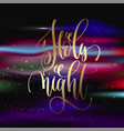 holy night - gold hand lettering poster on vector image vector image