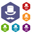 magic black hat and mustache icons set vector image vector image