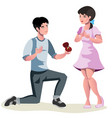 man makes marriage proposal to girlfriend vector image vector image