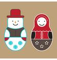 Matryoshka Doll And Snowman vector image vector image
