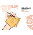 menstruation pads woman holding reusable period vector image vector image