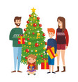 parents couple with kids and christmas tree vector image