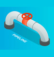 pipeline with red valve or wheel for open or vector image