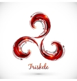 Red abstract triskele symbol vector image vector image