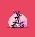 rider stands on a moving motorcycle vector image vector image