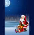 santa christmas with holding bag of presents vector image