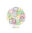 school concept with icons and signs in line style vector image vector image