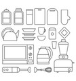 set of line kitchen isolated elements vector image