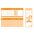 set of orange tickets vector image