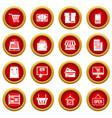 shopping icon red circle set vector image