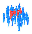 some red isometric people standing among crowd vector image