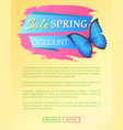 spring sale web poster discount colorful butterfly vector image