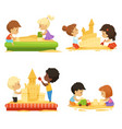 summer time kids playing on beach with sand vector image vector image