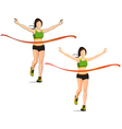 The woman winner in running Athletics game vector image vector image