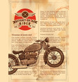 vintage motorcycle on retro background vector image vector image