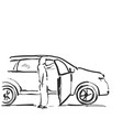 woman near the car sketching vector image