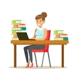 Woman With Lap Top At The Desk Surrounded By Piles vector image vector image
