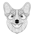 Zentangle Dog face in monochrome doodle style Hand vector image vector image