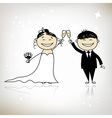 Wedding ceremony - bride and groom together vector image