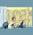 boredom at work businessman throwing paper vector image vector image