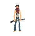 brave pirate with gun male buccaneer cartoon vector image vector image