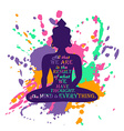 Buddha Silhouette Over Colorful Splash Background