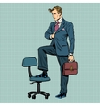 businessman in the pose of Napoleon vector image vector image