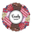 candy shop banner with hand drawn pies decorated vector image vector image