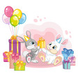 cartoon rabbits with present boxes vector image