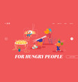 chinese food website landing page male and female vector image vector image