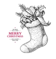 Christmas sock with holly mistletoe fir tree vector image vector image