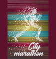 city marathon poster design concept with running vector image vector image